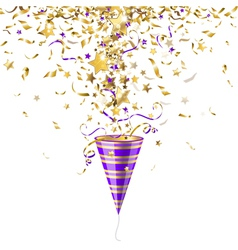 Party popper with confetti vector