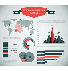 teal and red retro vintage set of Infographic vector image
