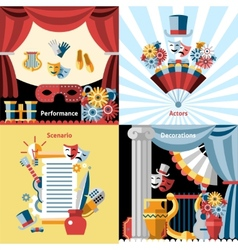 Theatre flat icon set vector