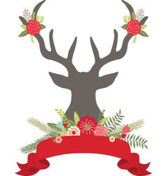 Christmas deer antlers with flowersbanner set vector
