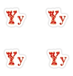 Assembly stickers fiery font red letter y on white vector