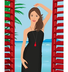 Girl with black dress vector