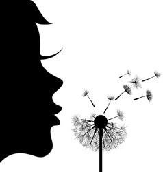 Girl and dandelion vector