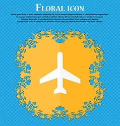 Plane icon floral flat design on a blue abstract vector