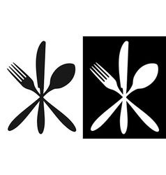 Black and white cutlery icons vector image vector image