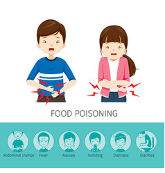 boy and girl stomachache because food poisoning vector image