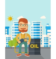 Businessman with oil can and pump vector
