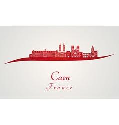 Caen skyline in red vector