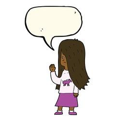 Cartoon girl with pony shirt waving with speech vector