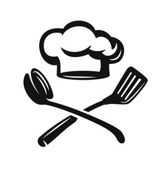 chef hat with kitchen utensils vector image