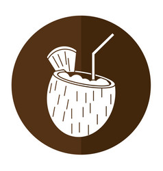 Cocktail coconut fresh drink shadow vector