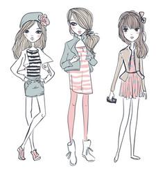 Cute cartoon hipster girls vector