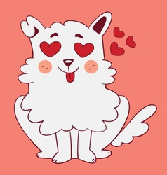Cute dog in love vector