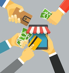 Digital commerce online shopping with modern vector