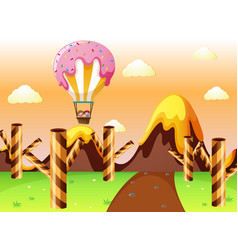 Fantacy land with candy balloon and waffle trees vector