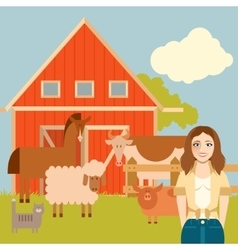 Farmer woman and animals banner vector