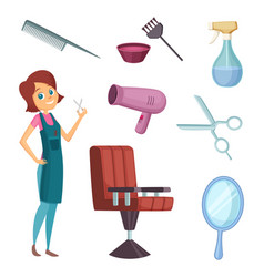 female barber at work stylist with different vector image