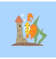 Golden fish with castle image vector