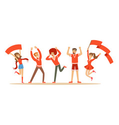 Group of sport fans in red outfit supporting their vector
