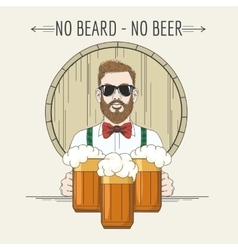 Hipster Beer with moto No beard no vector image vector image