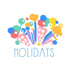 Holidays logo template colorful hand drawn vector