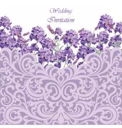 Lavender card with lace ornamented border vector