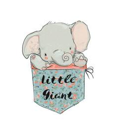 Little pocket elephant vector