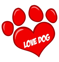 Love Paw Print With Text vector image