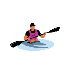 Man in canoe sign vector