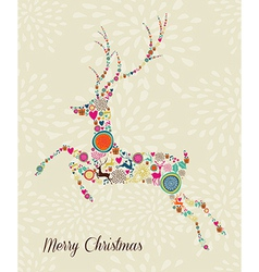 Merry Vintage christmas elements jumping reindeer vector image vector image
