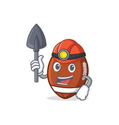 Miner american football character cartoon vector