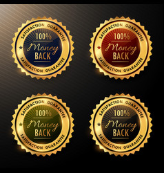 Money back guarantee badges set collection vector