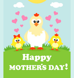 Mothers day background card with chickens vector
