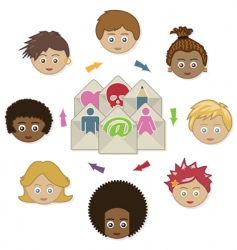 networking kids with email vector image
