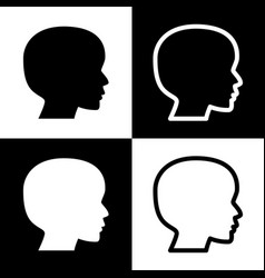 People head sign black and white icons vector