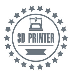 Prototype 3d printing logo simple gray style vector