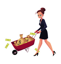 Sad frustrated woman girl businesswoman pushing vector