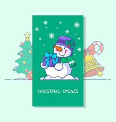 snowman line icon of vector image vector image