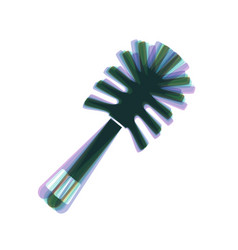 Toilet brush doodle colorful icon shaked vector