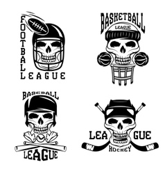 vintage sport labels set with skulls vector image vector image
