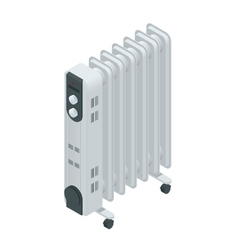 White oil heater with screen controls isolated on vector