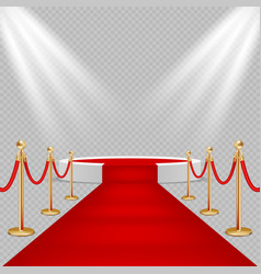 white round podium with red carpet vector image