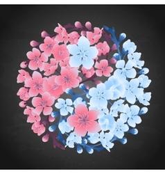 Yin Yang made of sakura vector image