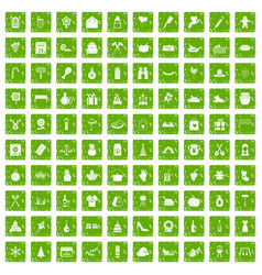 100 family tradition icons set grunge green vector image vector image