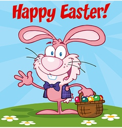 Pink happy easter bunny carrying a basket of eggs vector