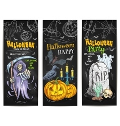 Halloween party chalk sketch design on blackboard vector