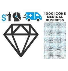 Diamond icon with 1000 medical business pictograms vector
