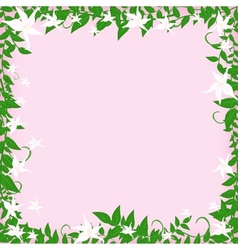 frame with white flowers vector image