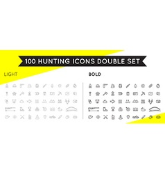 Set of thin and bold hunting camping sport vector