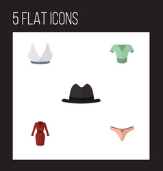 Flat clothes set of clothes casual lingerie and vector